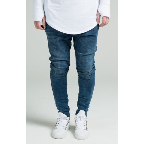 DROP CROTCH SKINNY JEANS - MIDSTONE BLUE