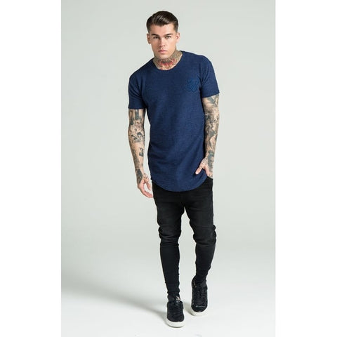 FLANNEL CURVED HEM TEE - NAVY