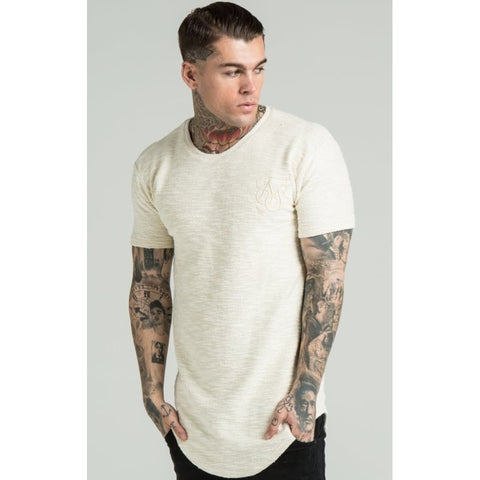 FLANNEL CURVED HEM TEE - OATMEAL