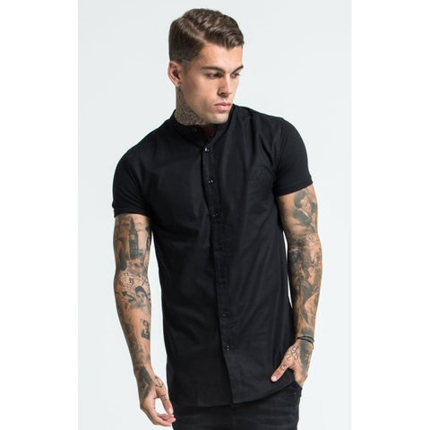 GRANDAD COLLAR JERSEY SLEEVE SHIRT - BLACK