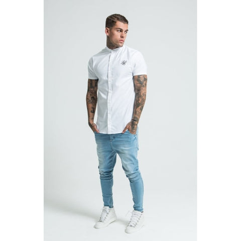 GRANDAD COLLAR SHORT SLEEVE SHIRT - WHITE