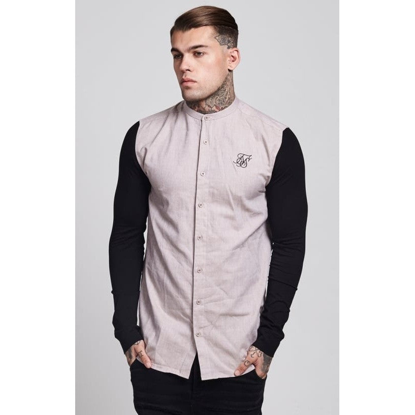 CONTRAST SLEEVE LONG SLEEVE JERSEY SHIRT- STONE