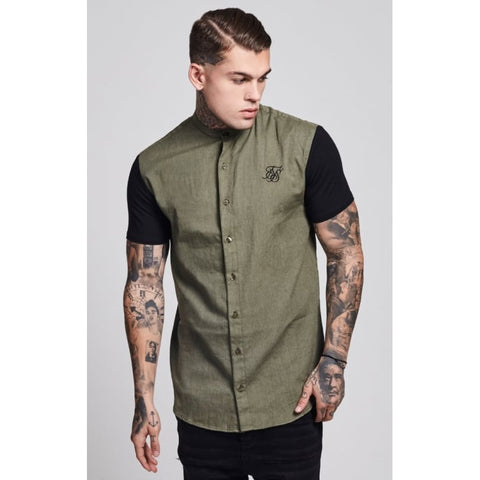 JERSEY SHORT SLEEVE SHIRT WITH CONTRAST SLEEVES - KHAKI