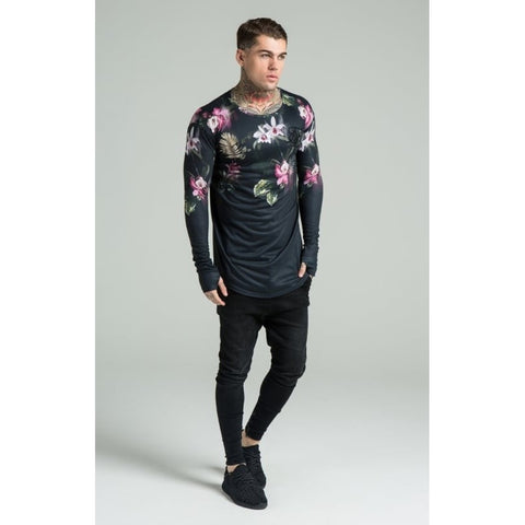 LONG SLEEVE DARK FLORAL TEE - BLACK