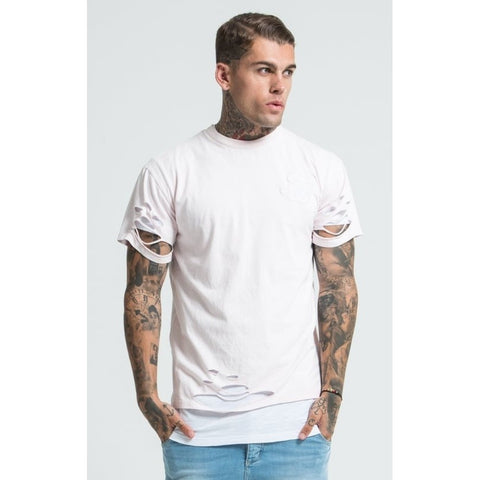 DOUBLE LAYER SHORT SLEEVE TEE - ORCHID