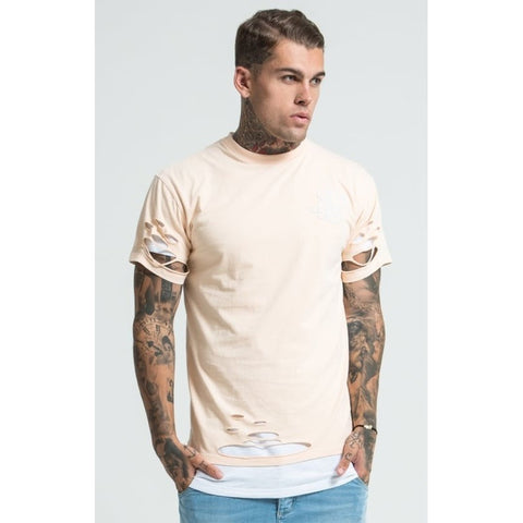 DOUBLE LAYER SHORT SLEEVE TEE - PEACH