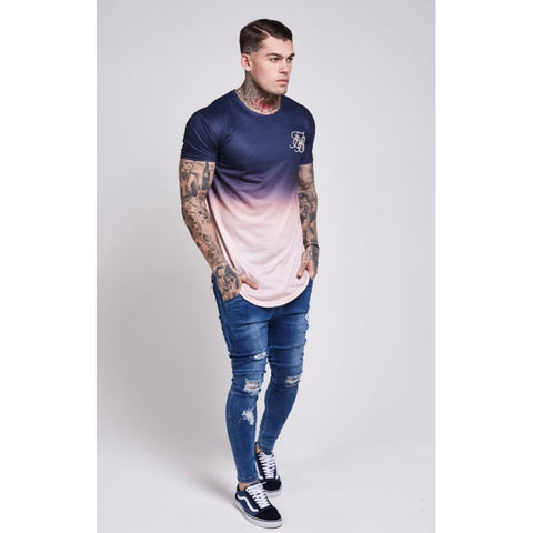 CURVED HEM FADED TEE - PEACH/NAVY