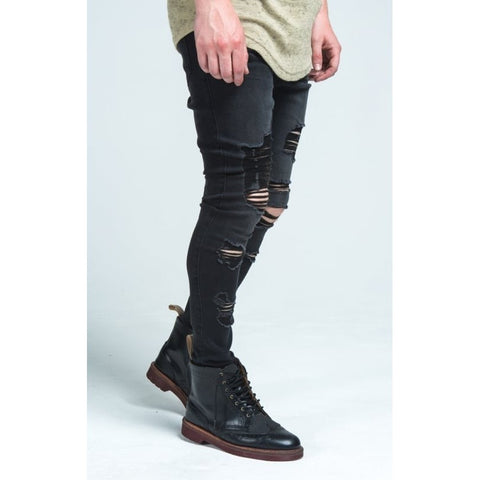 RAW EDGE DROP CROCTH JEANS - BLACK