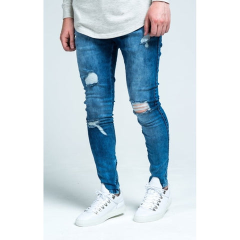 REPAIRED LOW RISE SKINNY JEANS - MIDSTONE BLUE