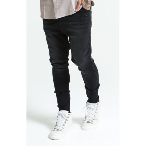 DROP CROTCH SKINNY JEANS - WASHED BLACK