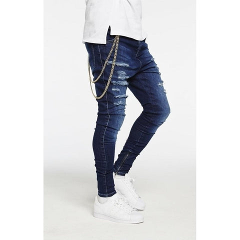 HAREEM RIPPED JEANS - DARK BLUE