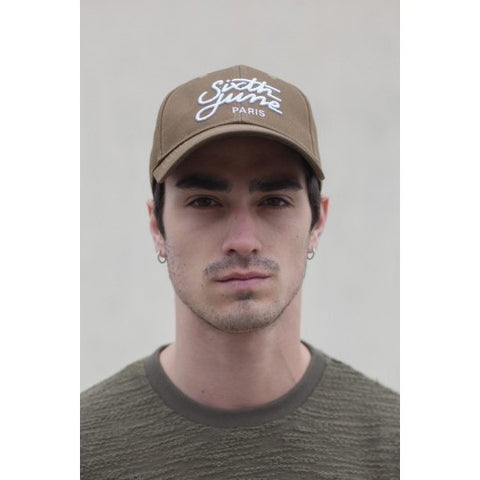 EMBROIDERED LOGO SNAPBACK - KHAKI