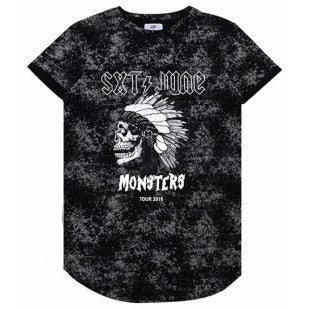 MONSTERS TOUR WASHED TEE - BLACK