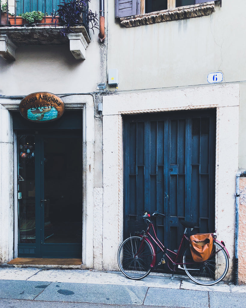 Doors in Blue with Bicycle-  Italy