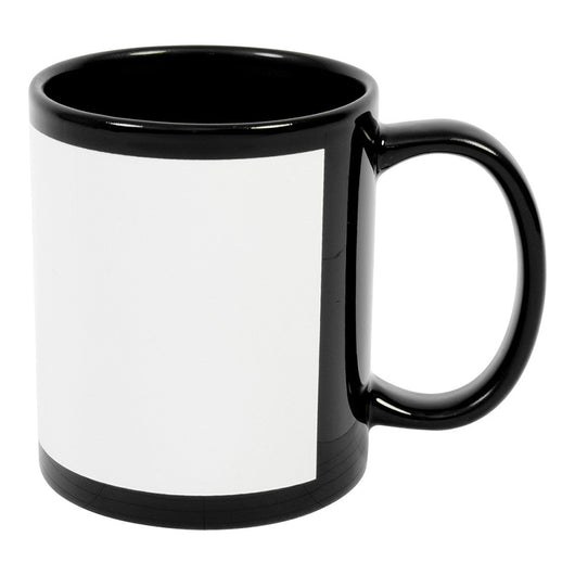 MUG 11oz - Ceramic Black with White Patch - (36/case)