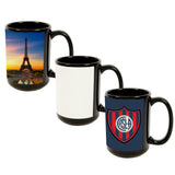 MUG 15oz - Ceramic Black with White Patch - (36/case)