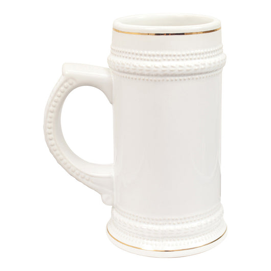 STEIN 22oz - Gold Trim White Ceramic - (18/case)