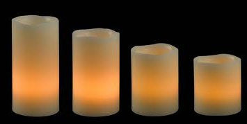 Flameless Candles; LED Candles with Remote Control, Pillar Real Wax Candles, 3-inch, 4-inch, 5-inch and 6-inch Candles with Melted Edge, Set of 4