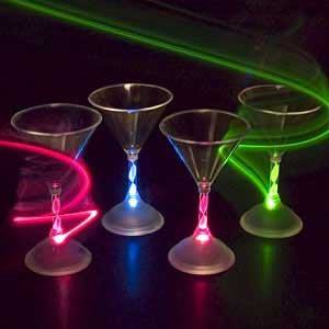 LED Light Up Flashing Martini Cocktail Glasses. Color Changing. Set of 4.