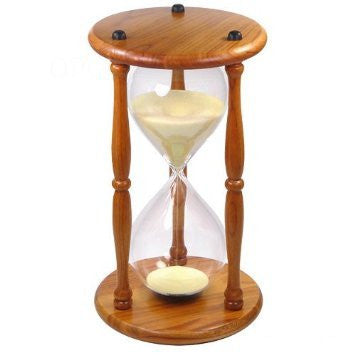 Hourglass Timer 60 Minute Oak Wood Sand Clock 9.5 Inch