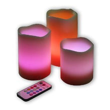 Vanilla Scented Wax Pillar Candles With Color Changing Remote Control and Timer (4'', 5'', 6'' inch candles)