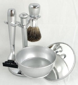 Shaving Gift Set with Badger Brush, Stand, Soap Bowl, Bowl Cover and Mirror and Mach 3 Razor Handle. Silver Plated, Great Fathers Day or Christmas Gift.