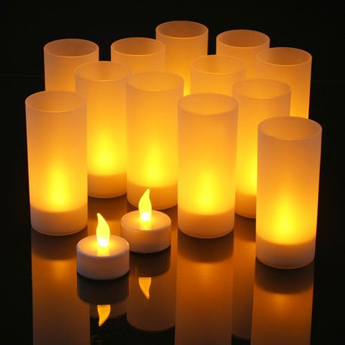 LED Rechargeable Flameless Tea Light Candles with Diffused Votives. Set of 12