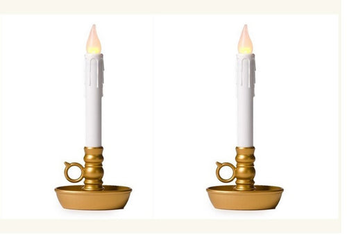 Battery Operated Single Window LED Candles, with Timer. Gold Base. Set of 2