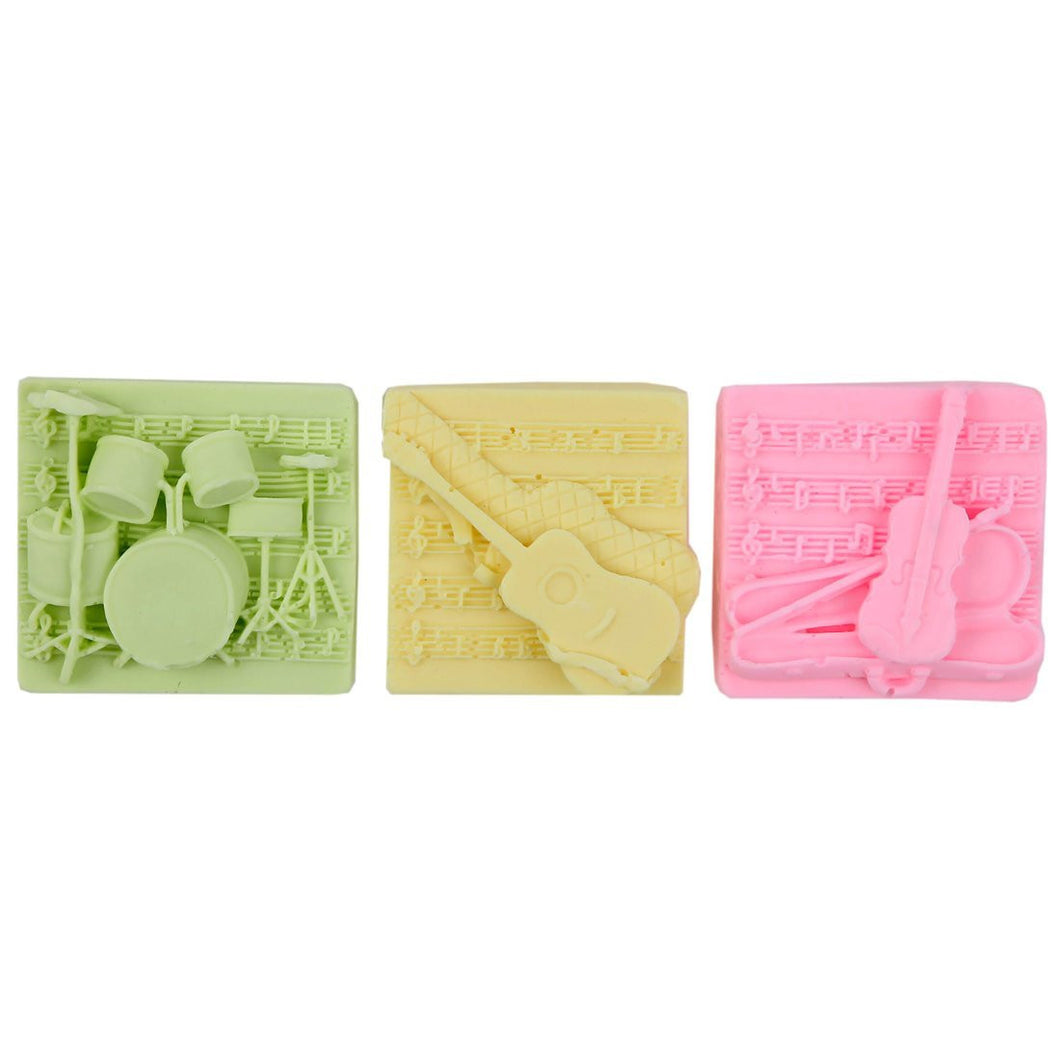 Shea Butter Enriched Scented Guest Soap Gift Set - Includes Three Soap Bars with Designs of Guitar, Bass and Drums