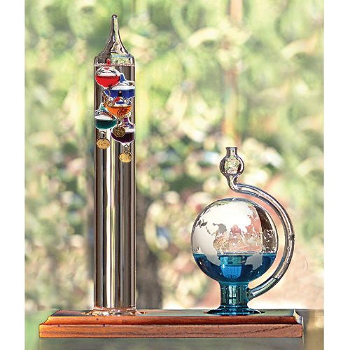 11 inch Galileo Thermometer with Etched Glass Globe Barometer