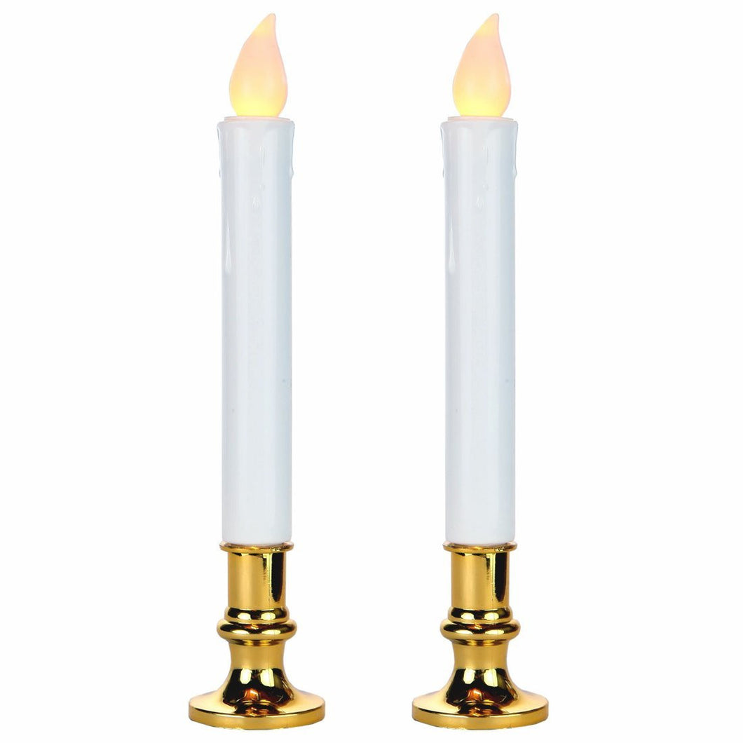 LED Battery Operated 9 Inch Flameless Taper Candles with a Timer - Set of 2