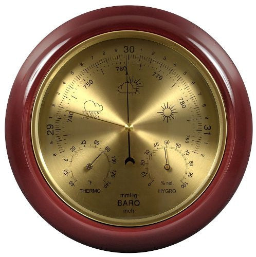 Cherry Finish Dial Traditional Barometer with Temperature and Humidity