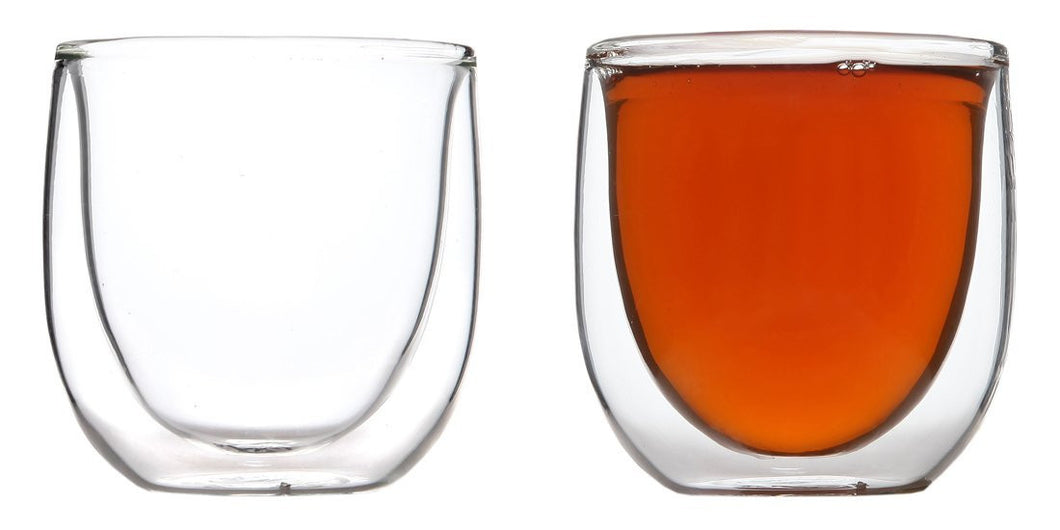 Double Wall Glasses for Espresso or Tea. 6 Ounces - Set of 2
