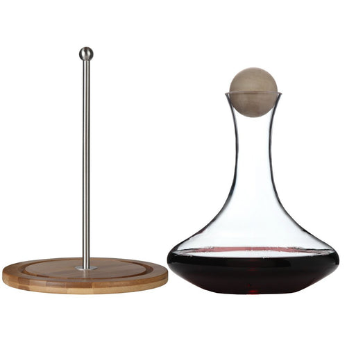 Classic Glass Wine Decanter with Wooden Ball Stopper and Decanter Dryer Stand