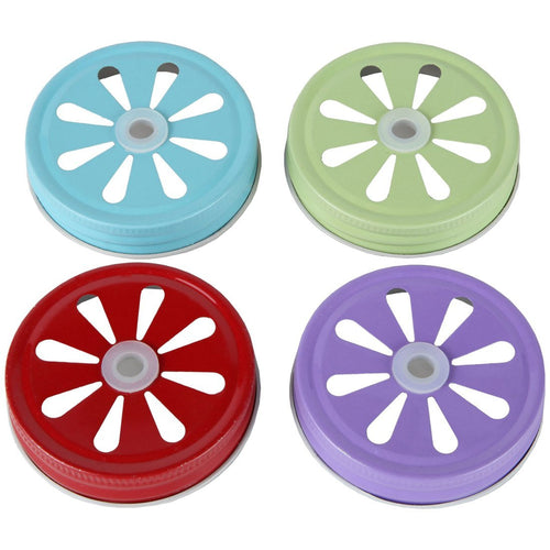 Decorative Daisy Cut Lids for Mason Jars Canning Drinking Favor Jars. Assorted 4 Colors