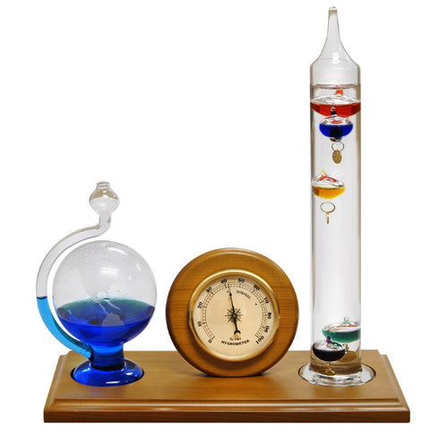 Analog Weather Station with Galileo Thermometer, Hygrometer and Etched Glass Fluid Barometer
