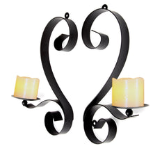 Candle Holders Artistic Interior Wall Sconces Black Iron, Set of 2
