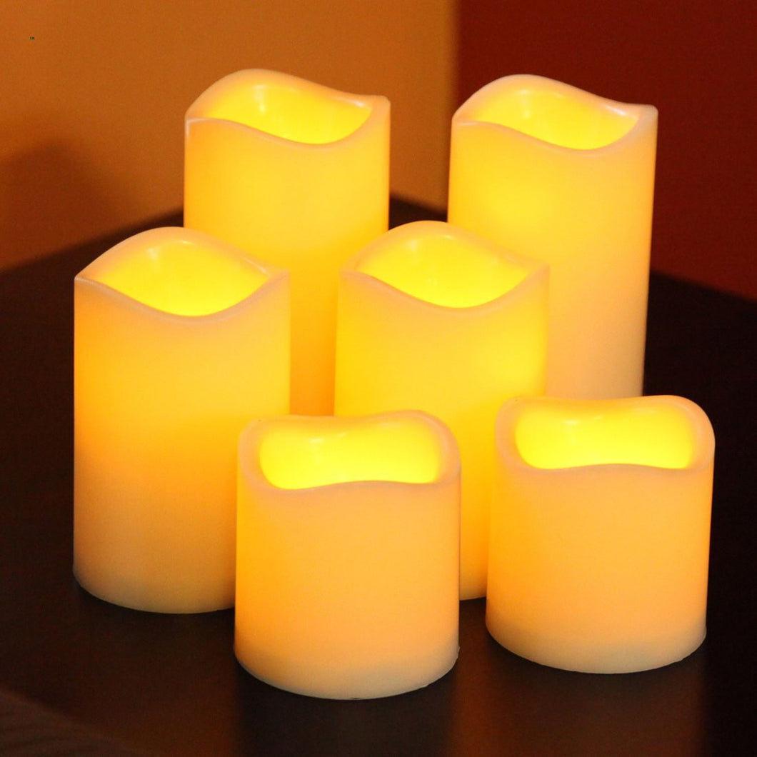 Battery Operated Flickering Flameless LED Votive Candles With Timer, Set of 6
