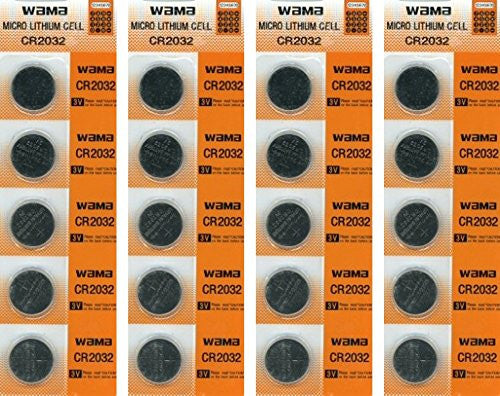 CR2032 Lithium 3V Batteries, 4 Cards of 5 - 20 Batteries