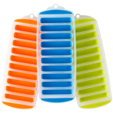 Ice Cube Trays with Easy Push Pop Out Narrow Ice Stick Cubes for Sport and Water Bottles. Pack of 3