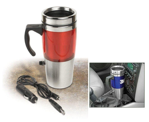 Auto Heated Travel Coffee Tea Mug Cup 12V and USB. (Red)