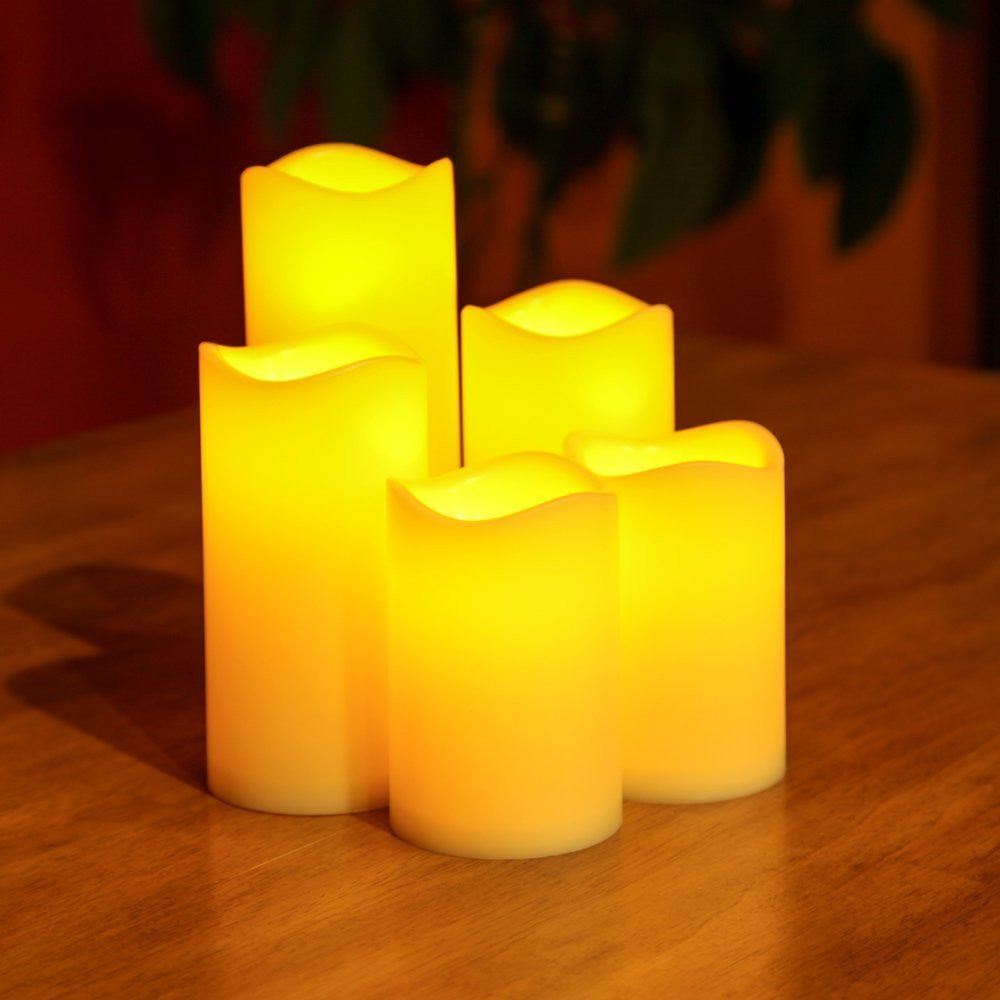 Lily's Home Set of 5 Flameless Indoor & Outdoor Bisque LED Candles with Timer.