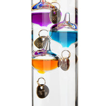 17 inch Galileo Thermometer, with 10 Multi Colored Spheres in Fahrenheit and Gold Number Tags