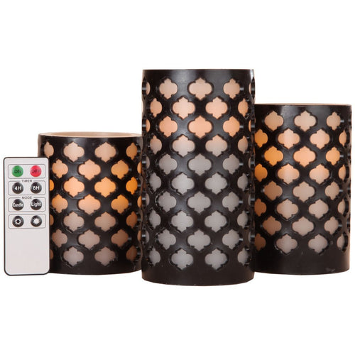 Everlasting Flameless LED Candles, with Remote and Timer, Set of 3 Candles