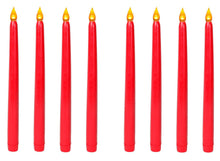 LED Taper Candle. For Weddings, Vigil and Menorah, 11 Inch. Red