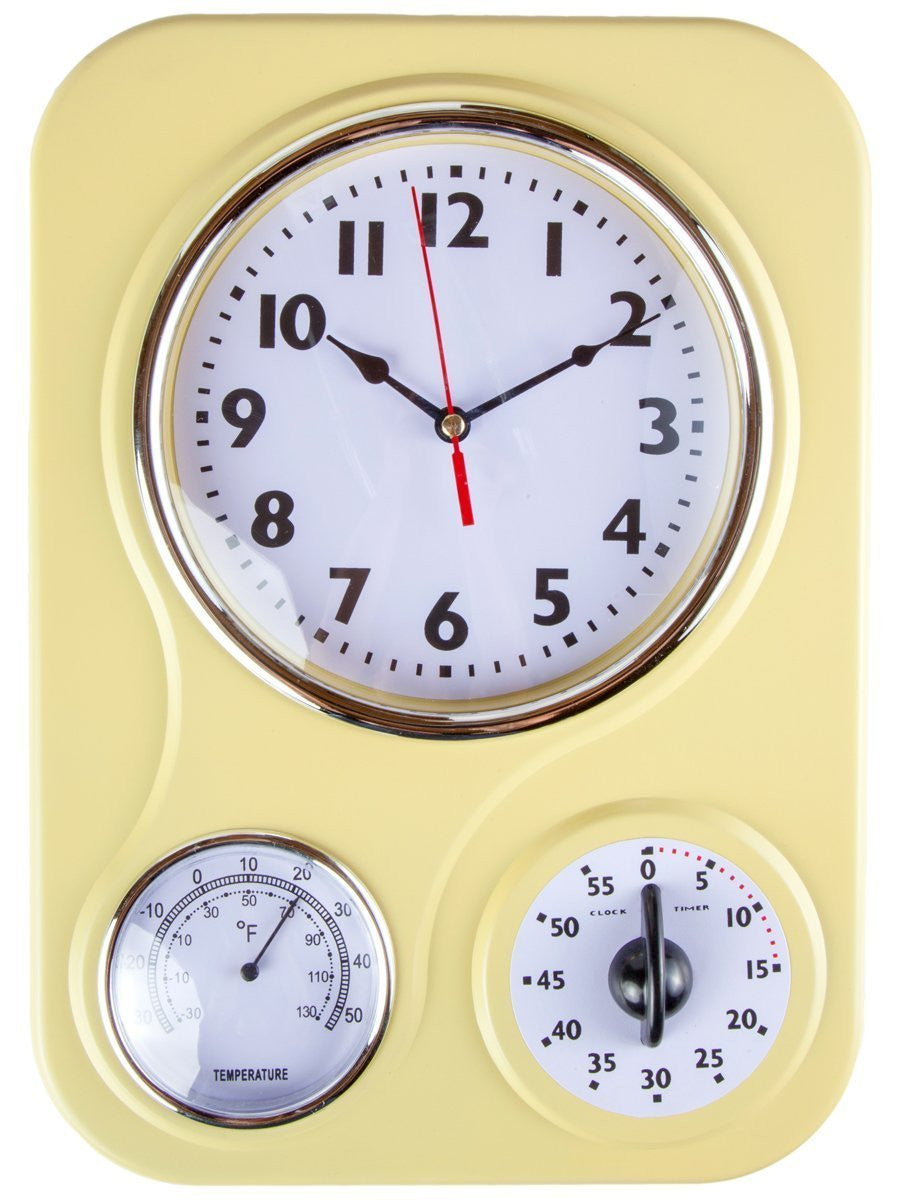 Retro Kitchen Clock With Temperature and Timer