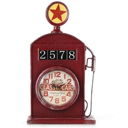 Antique Inspired English Red Gas Pump Mantle Clock 13 Inch