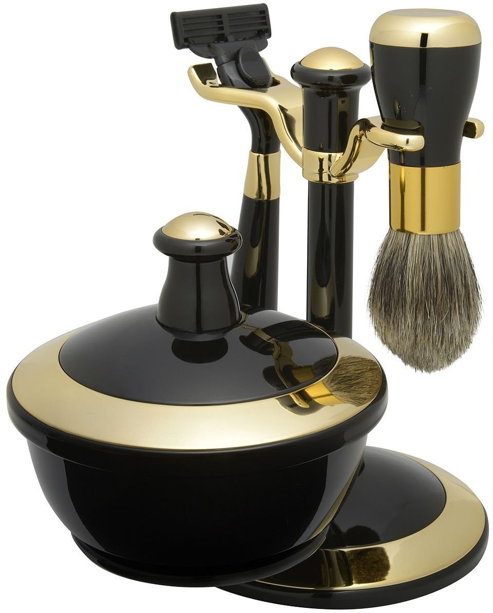 Shaving Gift Set with Badger Brush, Stand, Soap Bowl, Bowl Cover, Mirror and Mach 3 Razor Handle. Black and Gold Trim Finish, Great Fathers Day or Christmas Gift.