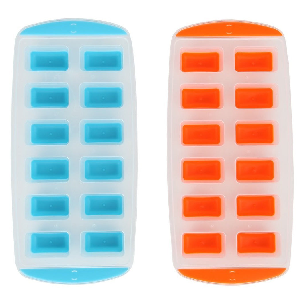 Ice Cube Trays with Easy Push Pop Ice Cubes. Pack of 2
