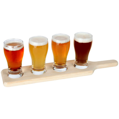 Beer Tasting Set. Beer Flight. 4 Beer Glasses on a Wooden Tray